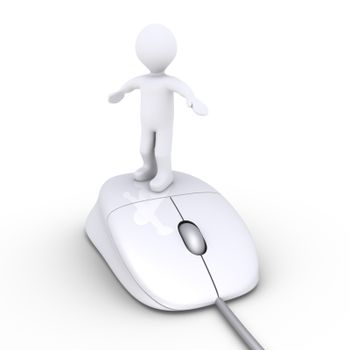 3d person standing on a computer mouse