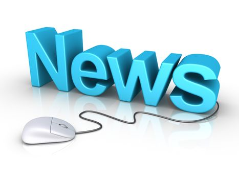 3d News word and a mouse is connected to it