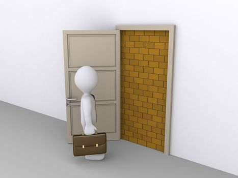 Businessman is in front of doorway that is blocked by a brick wall