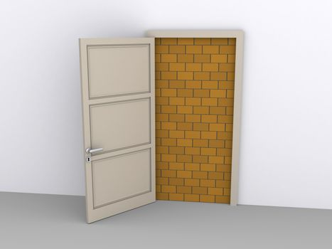 Opened doorway is blocked by a brick wall