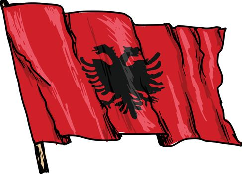 hand drawn, sketch, illustration of flag of Albania