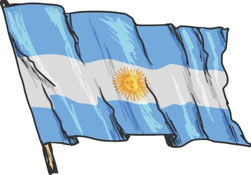 hand drawn, sketch, illustration of flag of Argentina