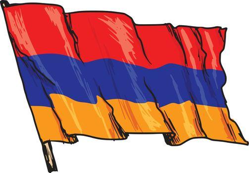 hand drawn, sketch, illustration of flag of Armenia