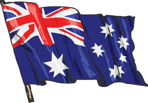 hand drawn, sketch, illustration of flag of Australia