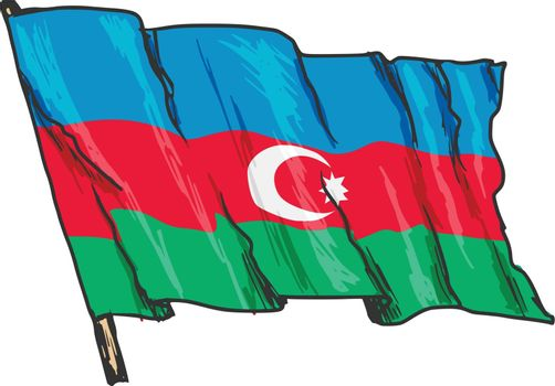 hand drawn, sketch, illustration of flag of Azerbaijan