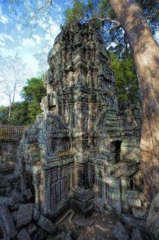 Sunrise over the Ta Phrom temple in Angkor, Cambodia