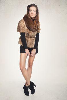 Sensual  woman in fur