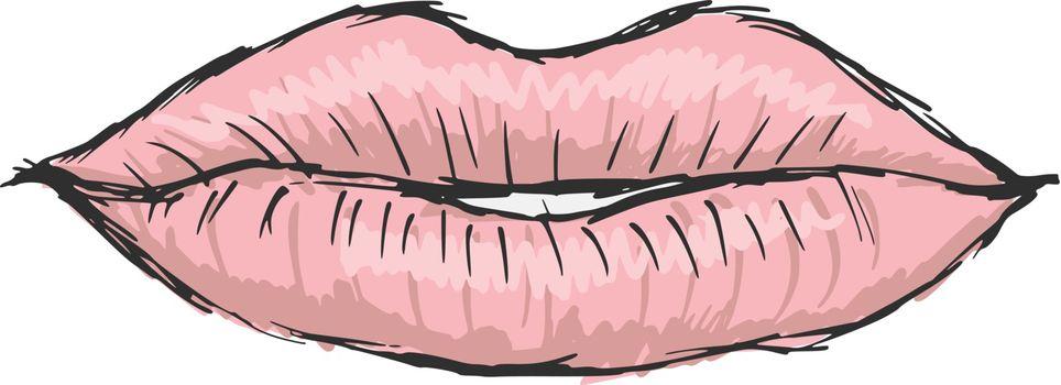 hand drawn, sketch, cartoon illustration of lips