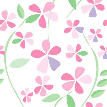 Seamless background with flowers of pink color/