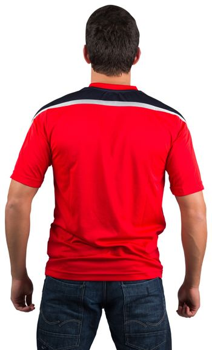 Football fan in red jersey