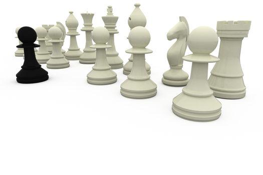 Black pawn facing white opposition