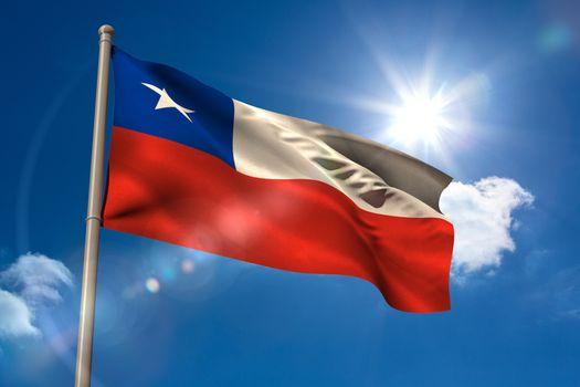 Chile national flag on flagpole