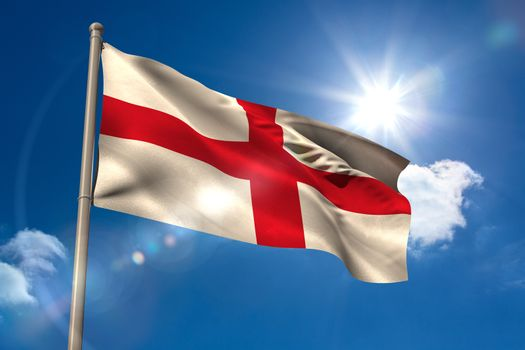 England national flag on flagpole