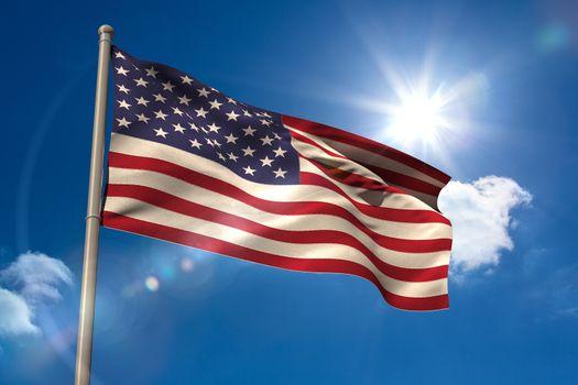 United states of america national flag on flagpole
