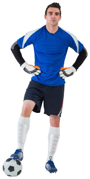Handsome goalkeeper in blue jersey