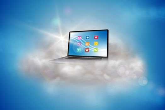 Laptop on a floating cloud