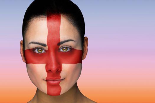 Beautiful brunette in england facepaint