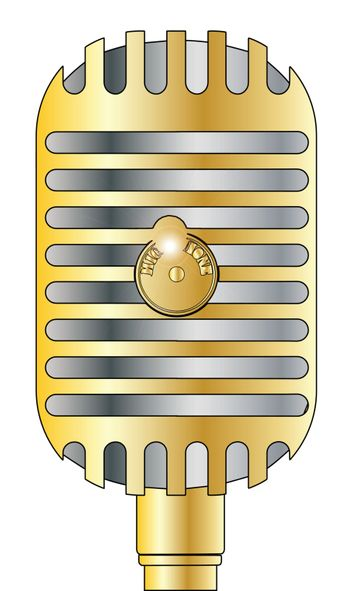 A tradition microphone in gold and silver isolated on a white background