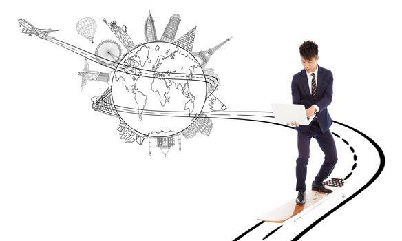 business man enjoy high speed network bandwith for worldwide web