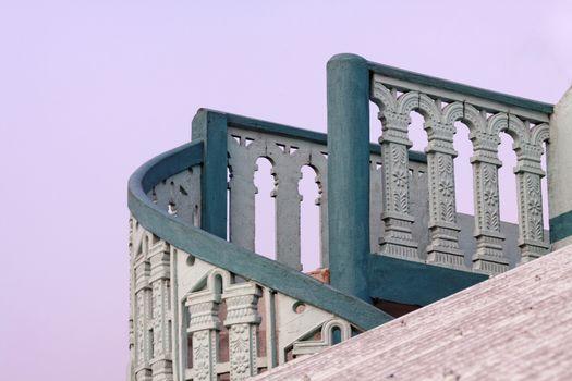 Top of outdoor spiral cement stairway