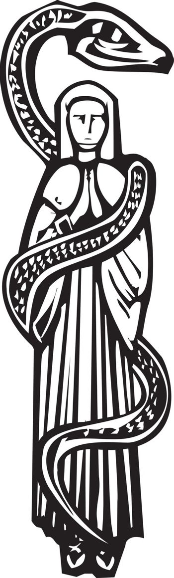 Woodcut style image of the Christian Mary wrapped in a serpent.