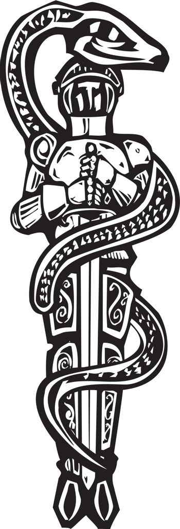 Woodcut style image of Saint George wrapped in a serpent.