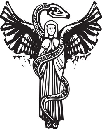 Woodcut style image of an Angel wrapped in a serpent.