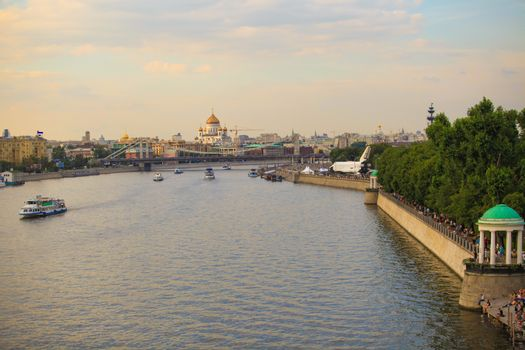 Beautiful landscape of the Moscow River and Cathedral Christ Savior