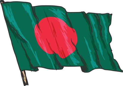 hand drawn, sketch, illustration of flag of Bangladesh