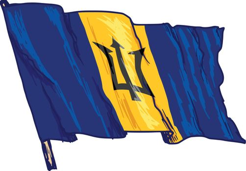 hand drawn, sketch, illustration of flag of Barbados