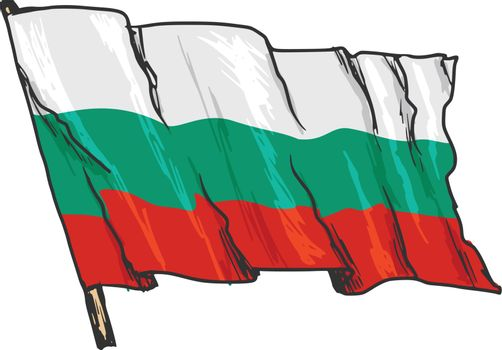 hand drawn, sketch, illustration of flag of Bulgaria