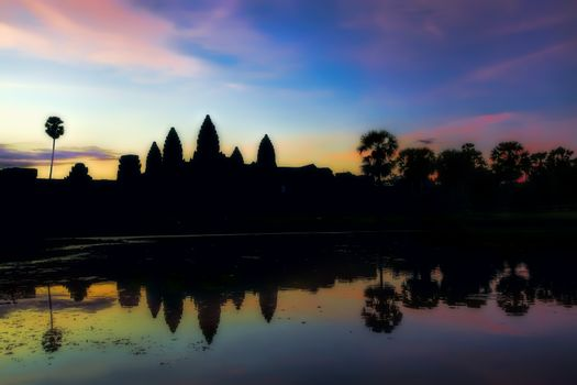 Sunrise over the Angkor Wat temple in Cambodia