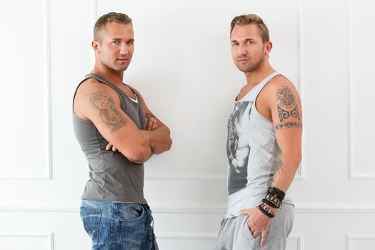 Handsome guys at home
