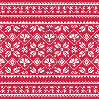 Ukrainian, Slavic folk art white embroidery pattern on red