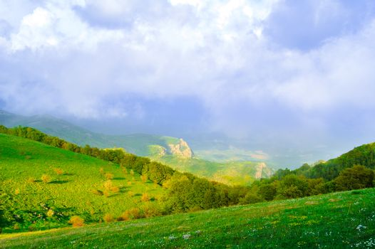 Beautiful Mountain Valley with Sunlight