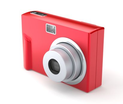 Red Digital Compact Photo Camera on the White Background