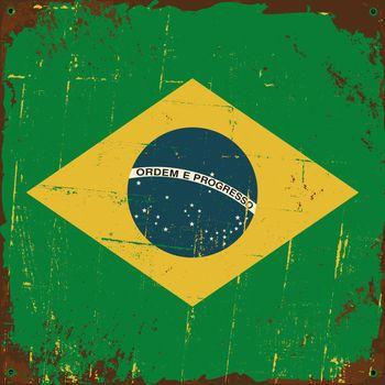 Brazil Flag Metal Sign