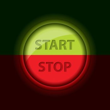 Glossy start stop button