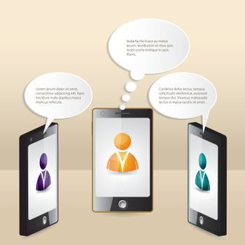 Smartphone conversation illustrated with speech bubbles