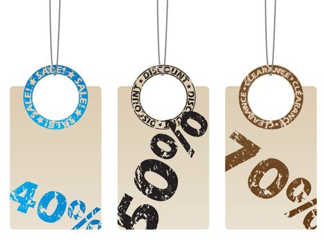 Labels with grunge seals and discounts