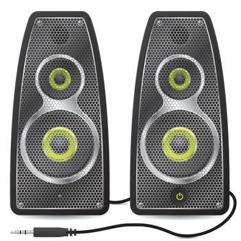 Stereo speaker set with metallic mesh