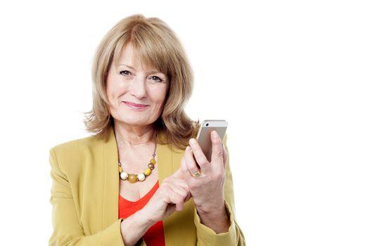 Happy lady calling via mobile