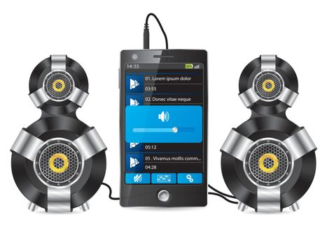 Stereo speaker set with phone