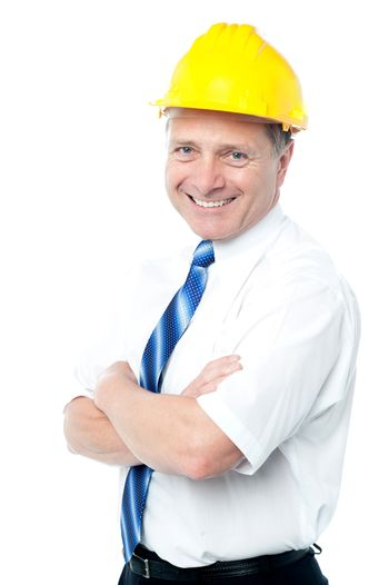 Successful architect in yellow hard-hat