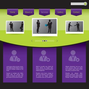 People connections website template design in green and purple
