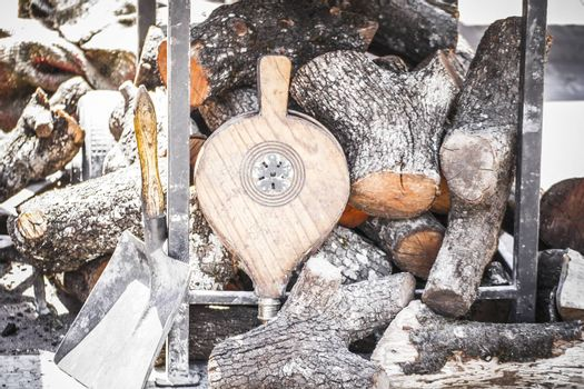 wood stove in a medieval fair, Spain