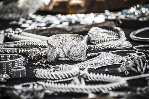 Handmade jewelry shop in a medieval fair