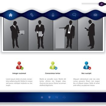 Website template design  with people presenting products