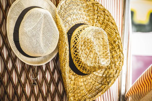 handmade wicker hats in a medieval fair