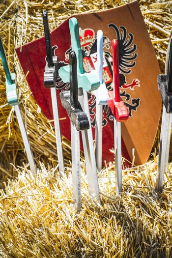 handmade wooden swords in a medieval fair